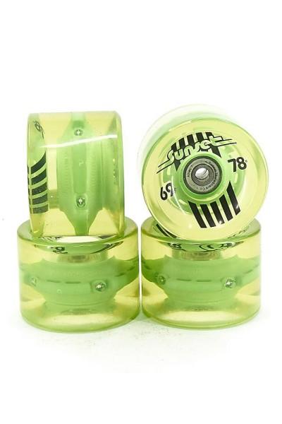 SUNSET Flare LED Wheels Set 65mm 78a green